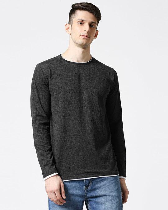 Shop Anthra Melange Raw Edge Full Sleeve T-Shirt-Front