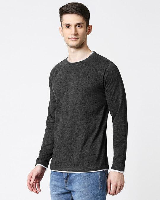 Shop Anthra Melange Raw Edge Full Sleeve T-Shirt-Design
