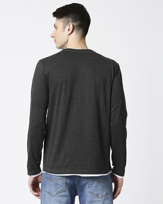 Shop Anthra Melange Raw Edge Full Sleeve T-Shirt-Full