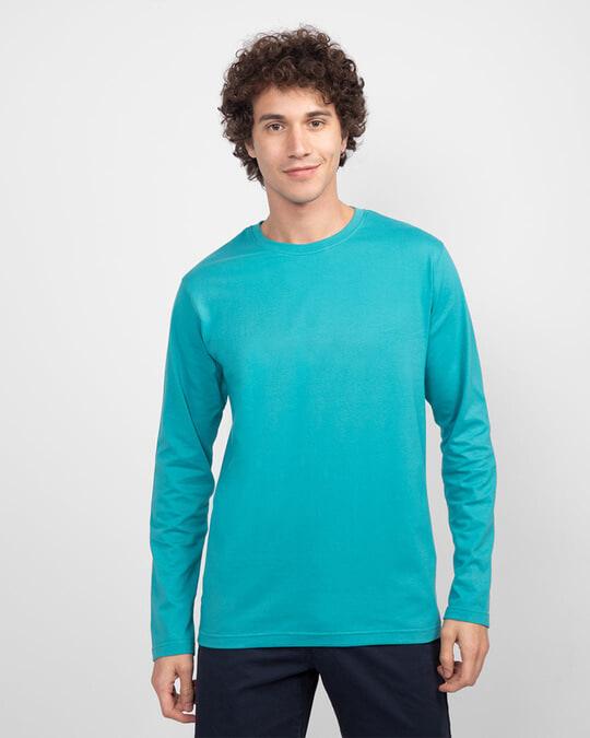 Shop Men's Plain Full Sleeves T-Shirt Pack of 2 (Tropical Blue & Bold Red)-Back