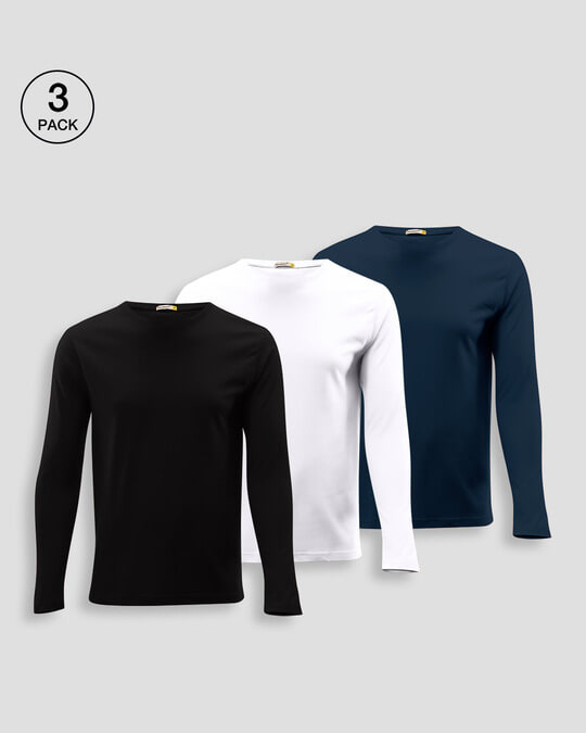 Shop Men's Full Sleeve T-Shirt Pack of 3(Black,White & Navy Blue )-Front