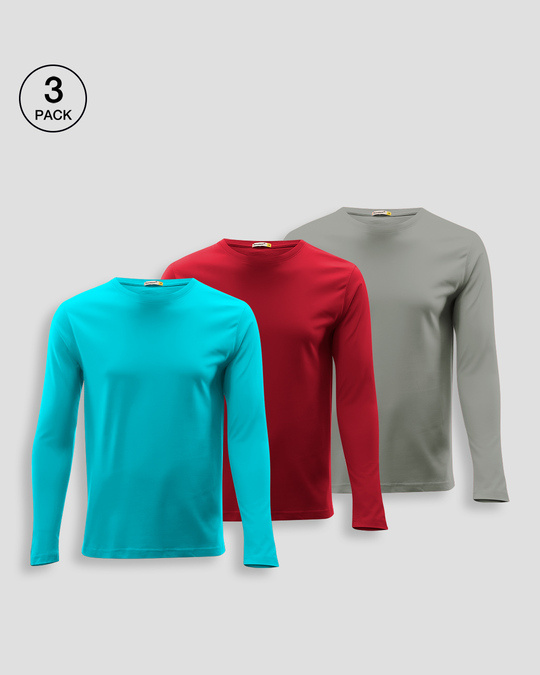 Shop Men's Plain Full Sleeve Pack of 3 (Tropical Blue,Bold Red & Meteor Grey)-Front