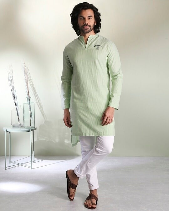 Shop Men's Green Stripe Peri Pauna Embroiderred  Kurta-Front