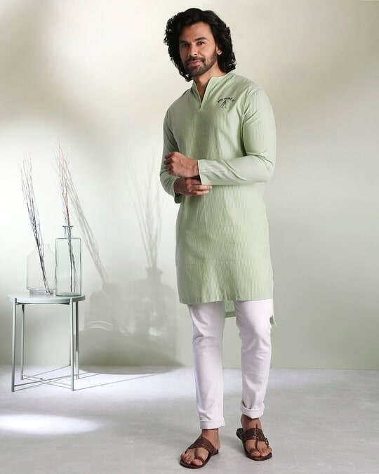 Shop Men's Green Stripe Peri Pauna Embroiderred  Kurta-Back
