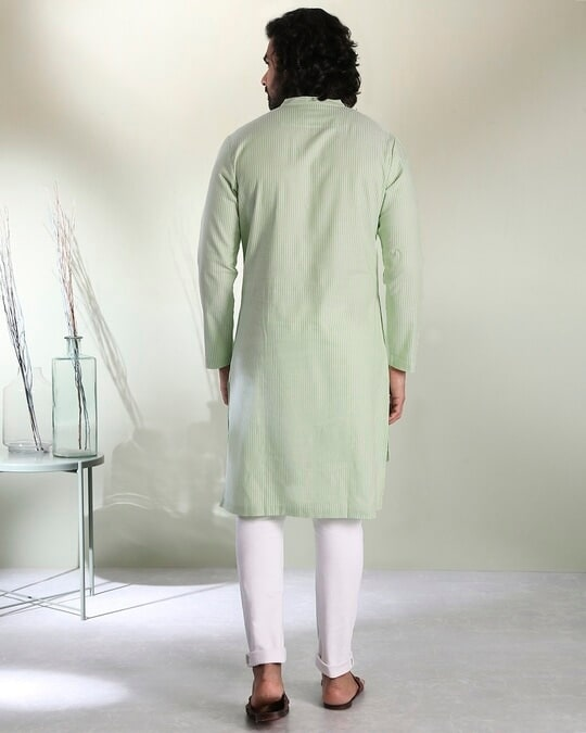 Shop Men's Green Stripe Peri Pauna Embroiderred  Kurta-Design