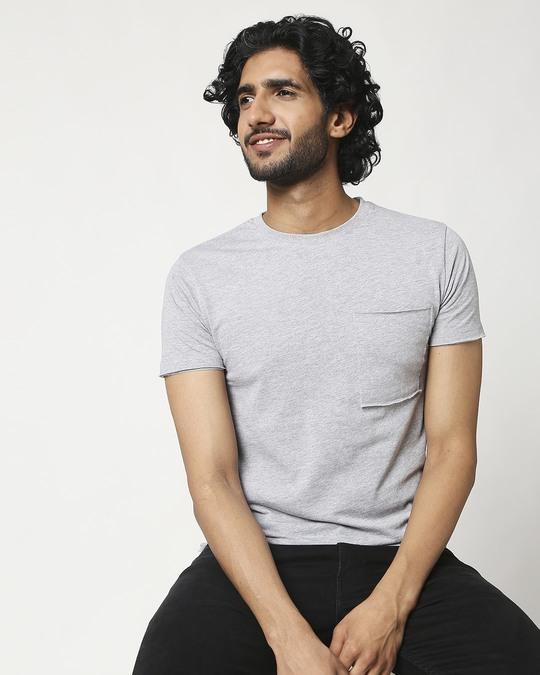 Shop Men's Half Sleeve Grey Melange Pocket T-Shirt-Front