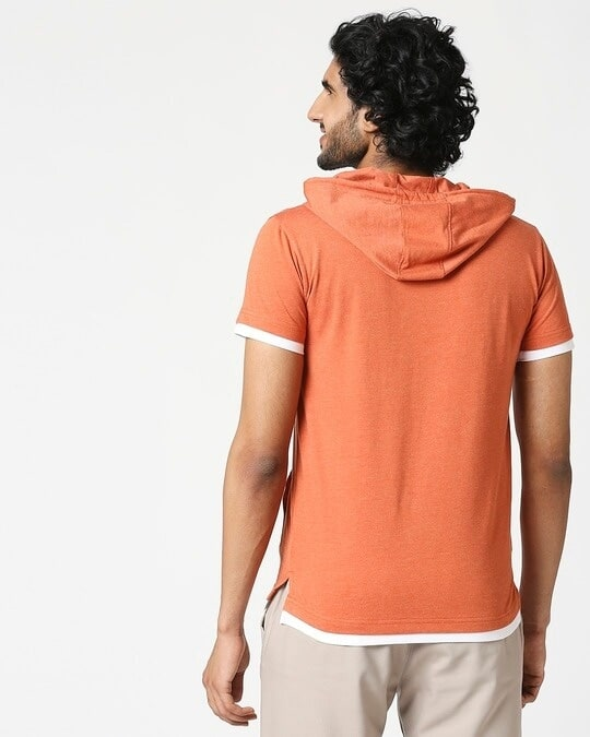 Shop Men's Half Sleeve Hoodie T-Shirt-Full
