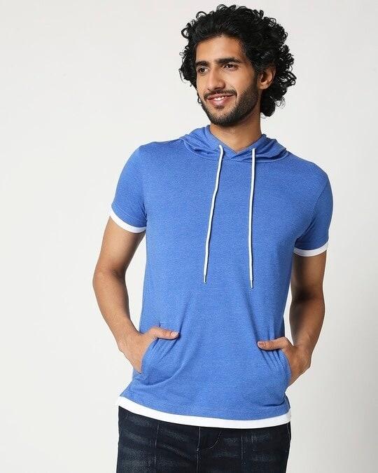 Shop Men's Half Sleeve Hoodie T-Shirt-Back