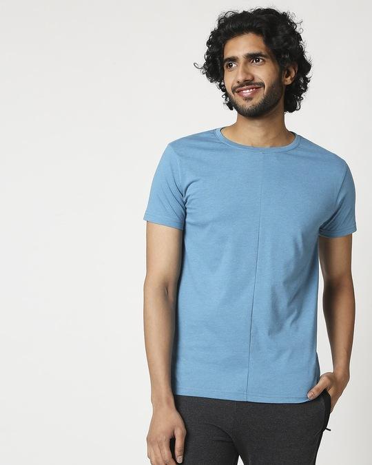 Shop Men's Half Sleeve Melange Cut & Sew T-Shirt-Back
