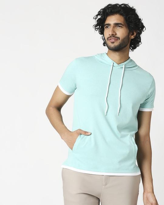 Shop Men's Half Sleeve Melange Hoodie T-Shirt-Back