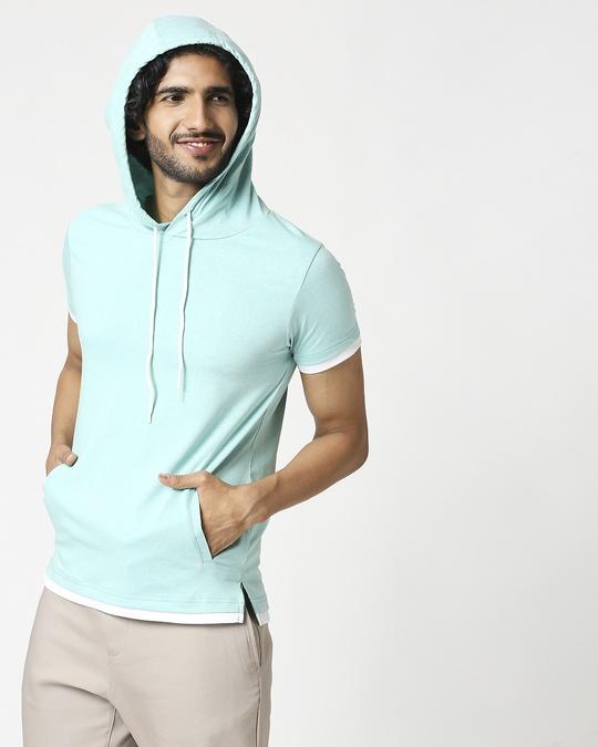 Shop Men's Half Sleeve Melange Hoodie T-Shirt-Design