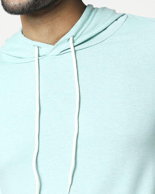 Shop Men's Half Sleeve Melange Hoodie T-Shirt