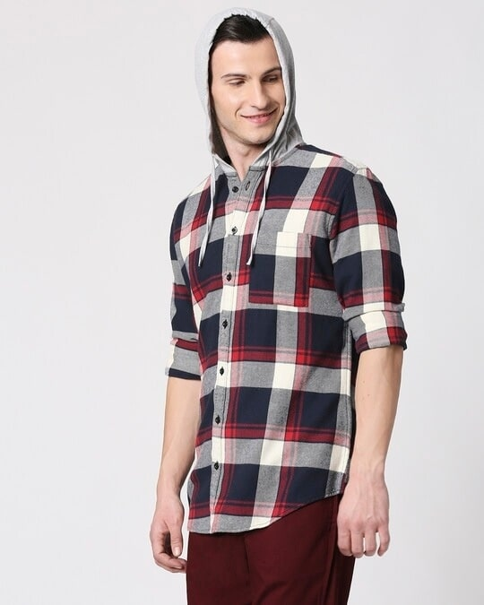 Shop Mens Checks Hoodie Shirt-Design