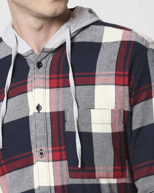 Shop Mens Checks Hoodie Shirt