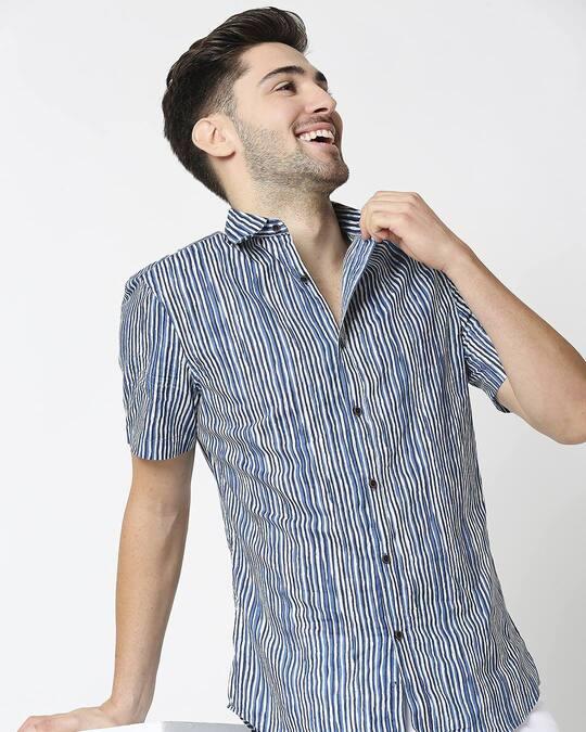 Shop Men's Printed Indigo Shirt-Front