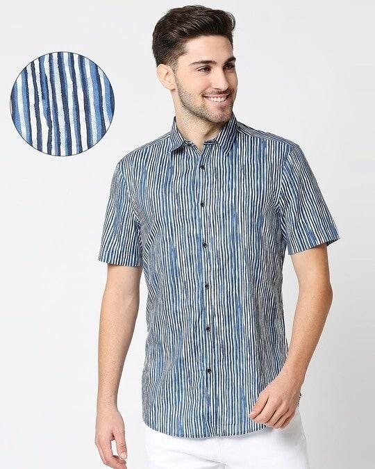 Shop Men's Printed Indigo Shirt-Back