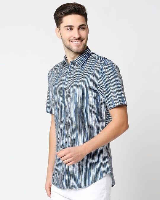 Shop Men's Printed Indigo Shirt-Design