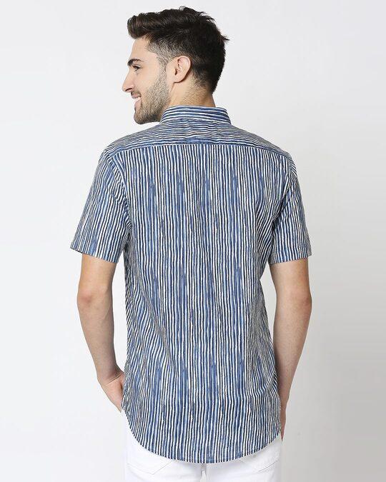 Shop Men's Printed Indigo Shirt-Full