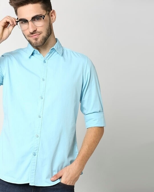 Shop Men's Lt Blue Casual Slim Fit Over Dyed Shirt-Front
