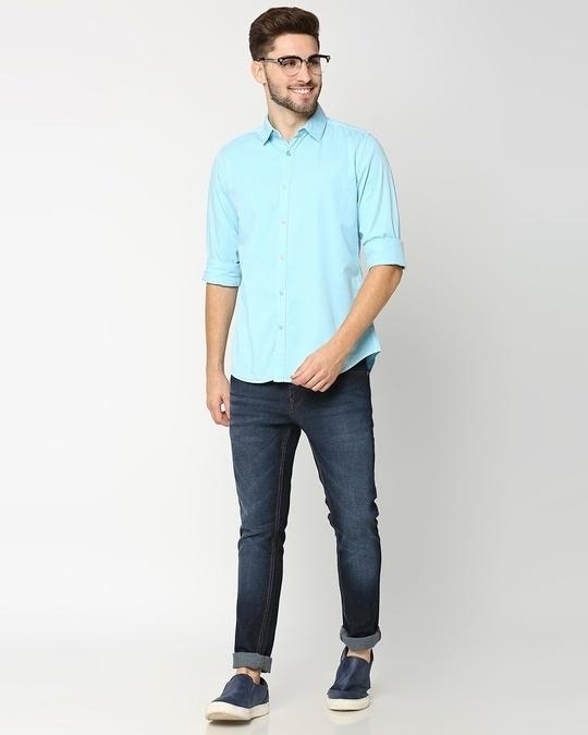 Shop Men's Lt Blue Casual Slim Fit Over Dyed Shirt