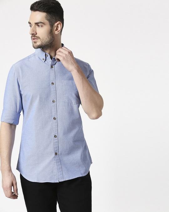 Shop Men's Lt Blue Slim Fit Casual Oxford Shirt-Front