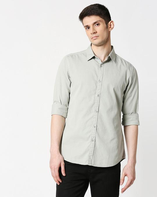 Shop Men's Lt Grey Casual Slim Fit Over Dyed Shirts-Back