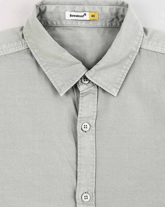 Shop Men's Lt Grey Casual Slim Fit Over Dyed Shirts