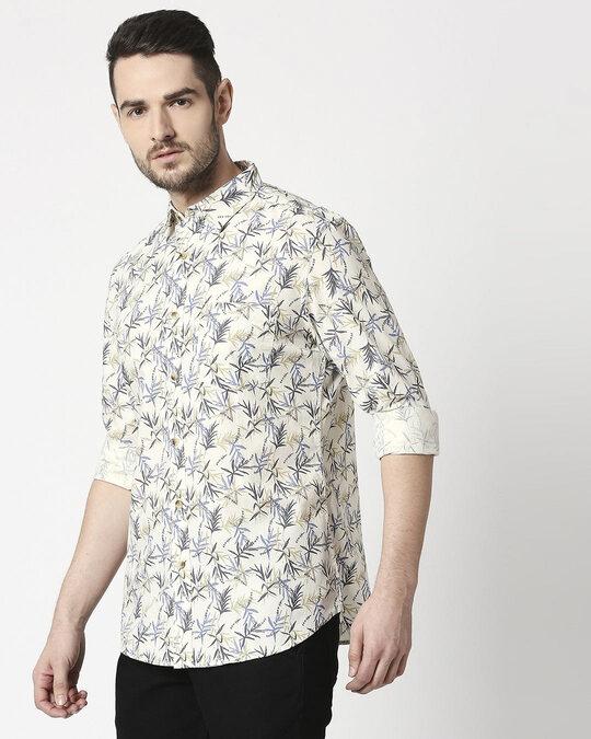 Shop Men's Lt Yellow Slim Fit Casual Indigo Shirt-Design
