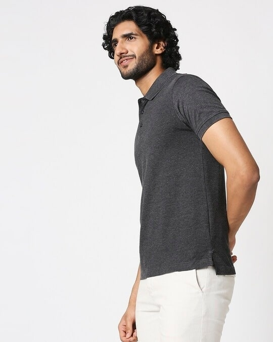 Shop Men's Melange Polo T-Shirt-Design