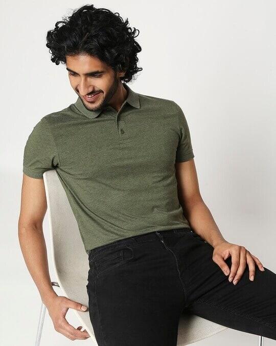 Shop Melange Olive Polo T-Shirt-Front