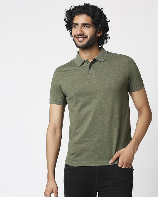 Shop Melange Olive Polo T-Shirt-Back