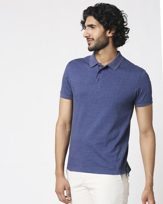Shop Melange Navy Polo T-Shirt-Design