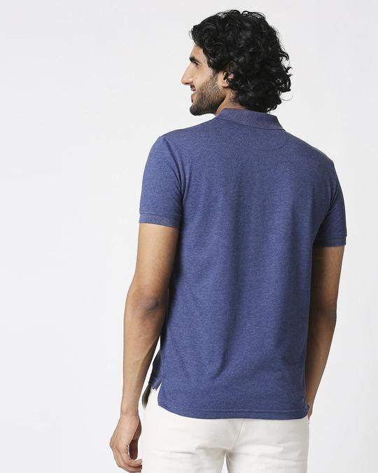 Shop Melange Navy Polo T-Shirt-Full