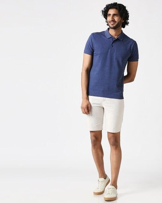 Shop Melange Navy Polo T-Shirt