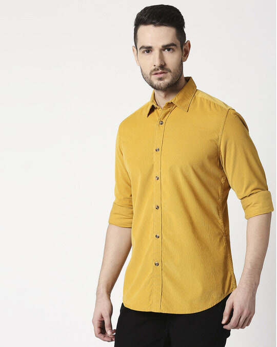 Shop Men's Mustard Casual Slim Fit Corduroy Shirts-Back