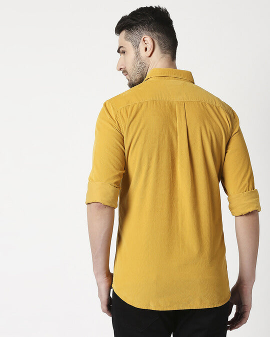 Shop Men's Mustard Casual Slim Fit Corduroy Shirts-Full