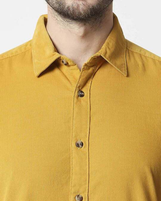 Shop Men's Mustard Casual Slim Fit Corduroy Shirts