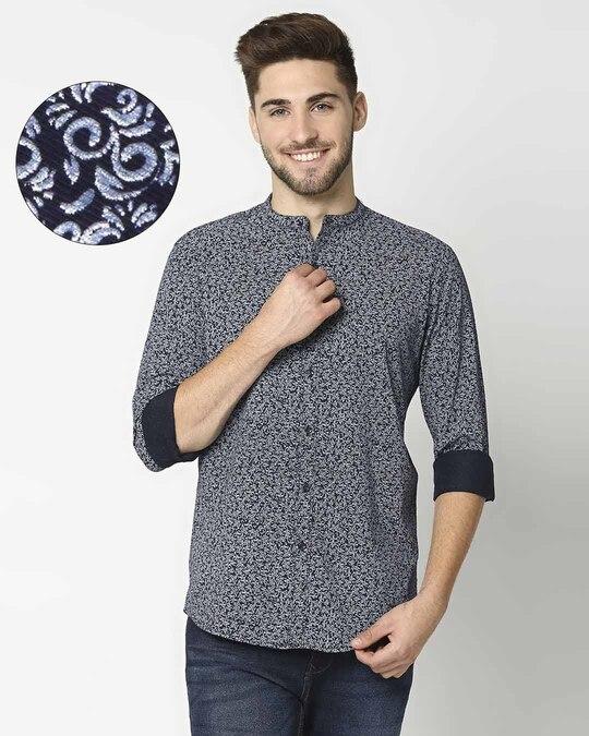 Shop Navy AOP Blue Shirt-Front