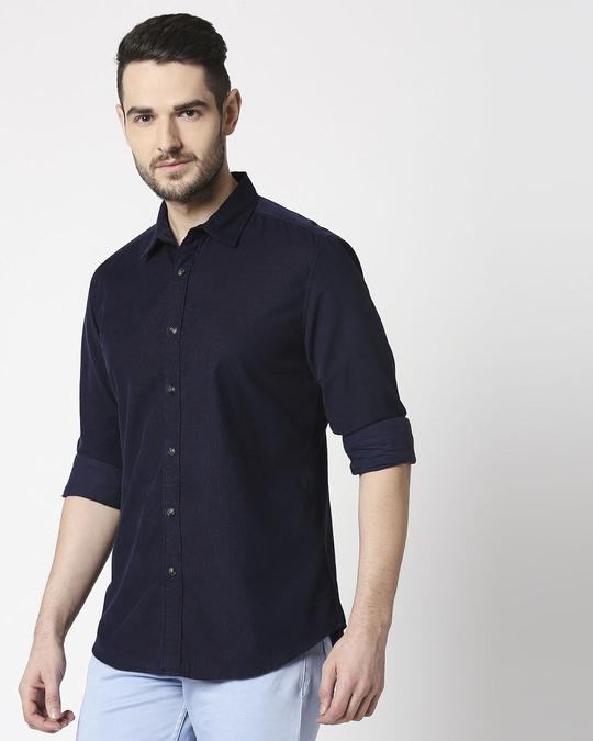 Shop Men's Navy Casual Slim Fit Corduroy Shirts-Design