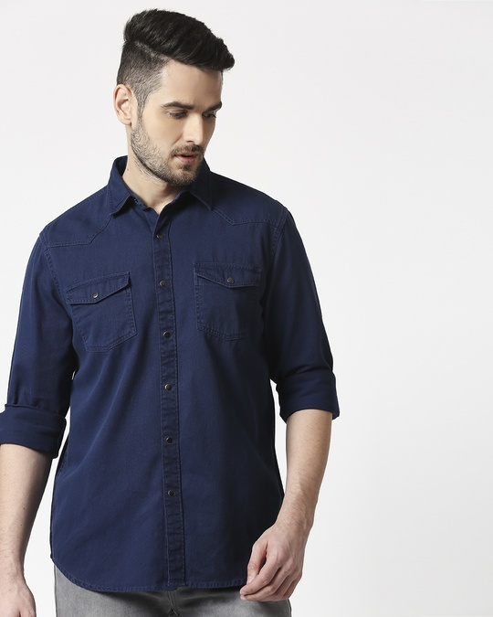 Shop Men's Navy Casual Twill Over Dyed Slim Fit Shirts-Back