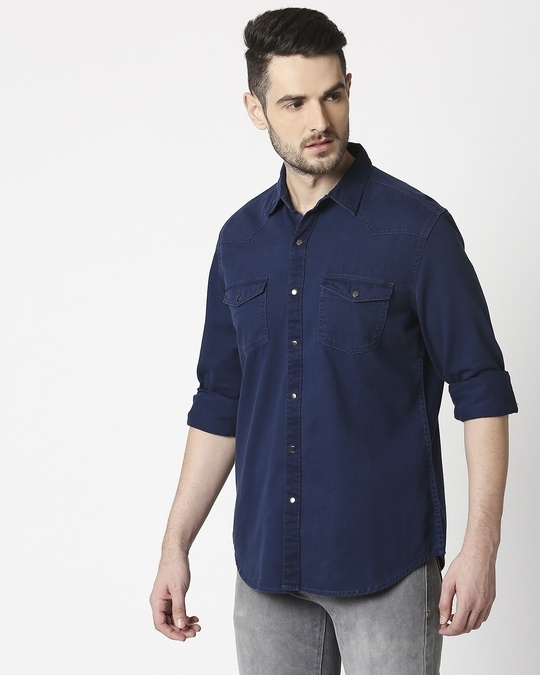 Shop Men's Navy Casual Twill Over Dyed Slim Fit Shirts-Full