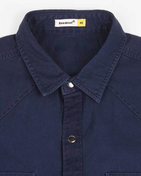 Shop Men's Navy Casual Twill Over Dyed Slim Fit Shirts