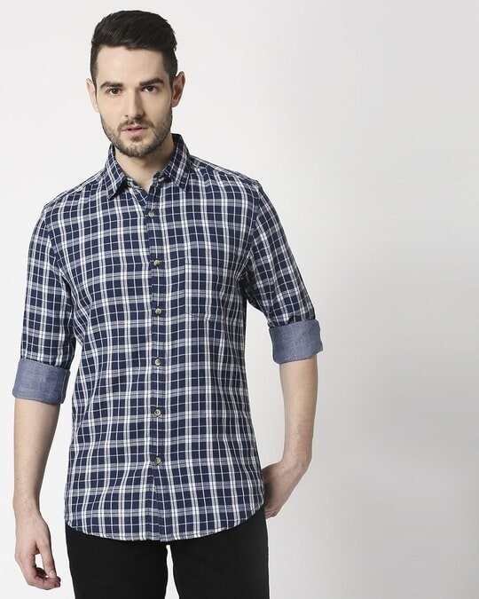 Shop Men's Navy Slim Fit Casual Check Shirt-Back