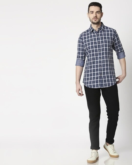 Shop Men's Navy Slim Fit Casual Check Shirt