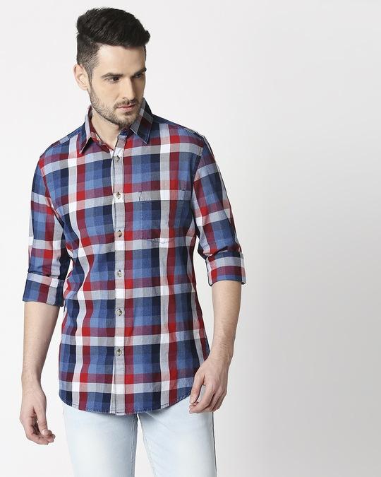 Shop Men's Navy Slim Fit Casual Check Shirt-Back