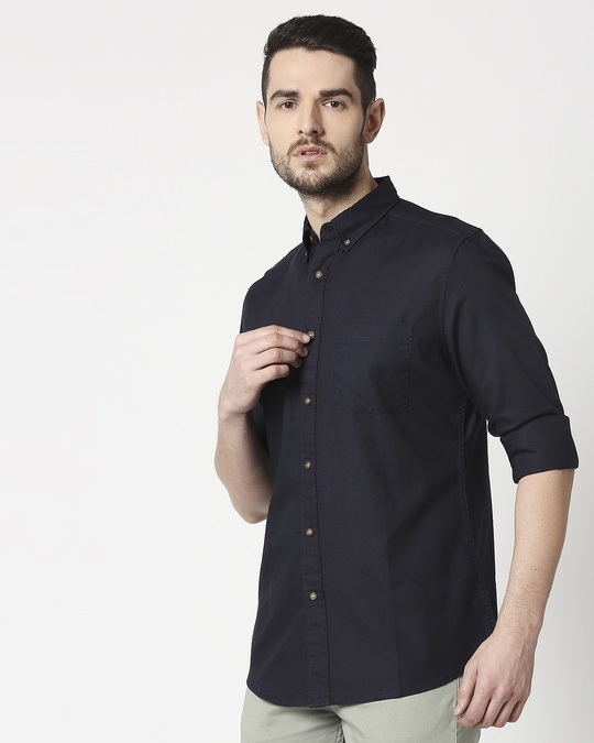 Shop Men's Navy Slim Fit Casual Oxford Shirt-Back