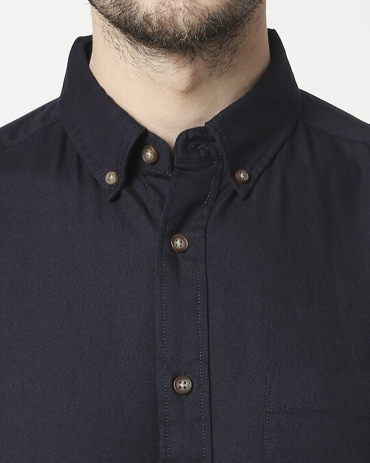 Shop Men's Navy Slim Fit Casual Oxford Shirt