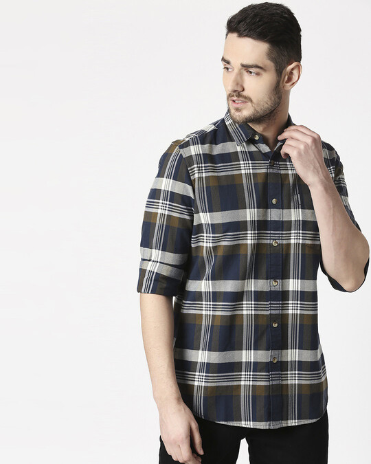 Shop Men's Olive Slim Fit Casual Check Shirt-Front