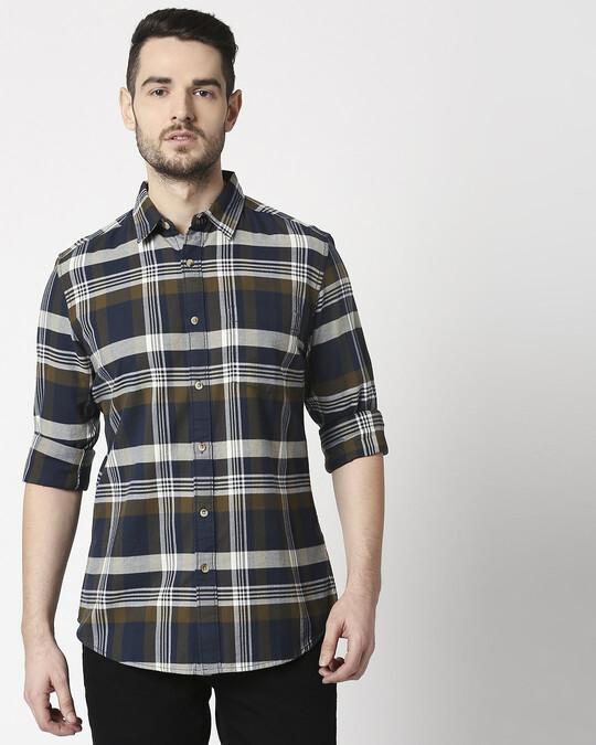 Shop Men's Olive Slim Fit Casual Check Shirt-Back