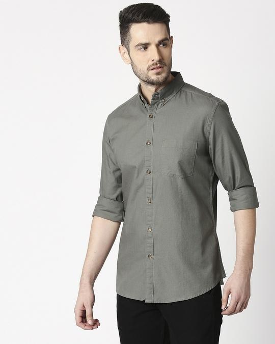 Shop Men's Olive Slim Fit Casual Oxford Shirt-Design
